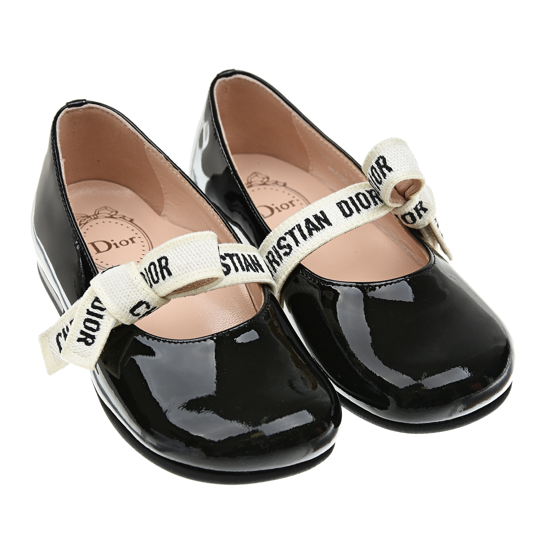 Лакированные туфли с лентой и бантом Dior детские