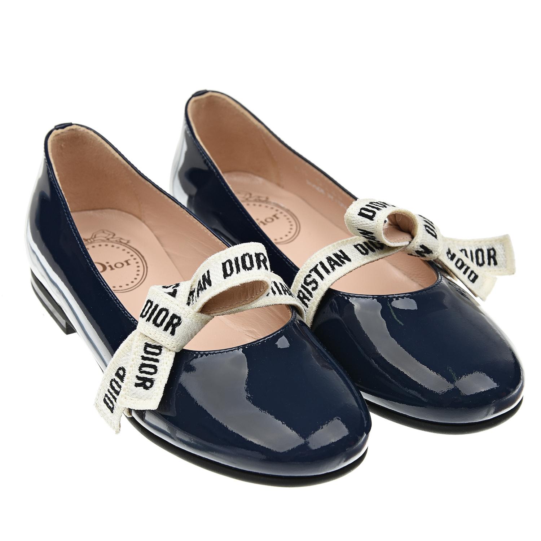 Темно-синие туфли из лакированной кожи с бантом Dior детское