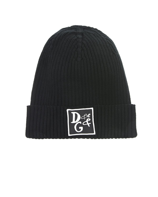 Купить Шерстяная шапка с нашивкой на отвороте Dolce&Gabbana детская, Черный, 100%шерсть, 75%полиэстер+25%вискоза