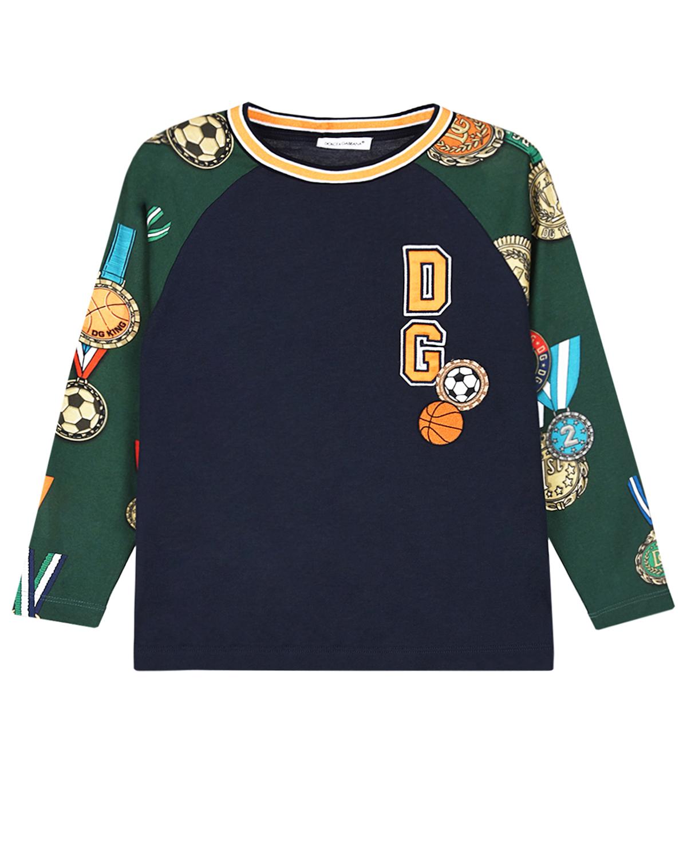 Купить Толстовка с принтом медали Dolce&Gabbana детская, Мультиколор, 100%хлопок, 96%хлопок+4%эластан, 55%полиэстер+45%вискоза