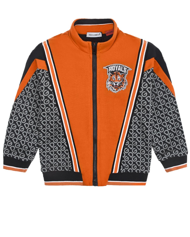 Купить Спортивная куртка с трикотажной подкладкой Dolce&Gabbana детская, Оранжевый, 100%хлопок, 96%хлопок+4%эластан, 55%полиэстер+17%полиамид+13%вискоза+15%металл.полиэстер