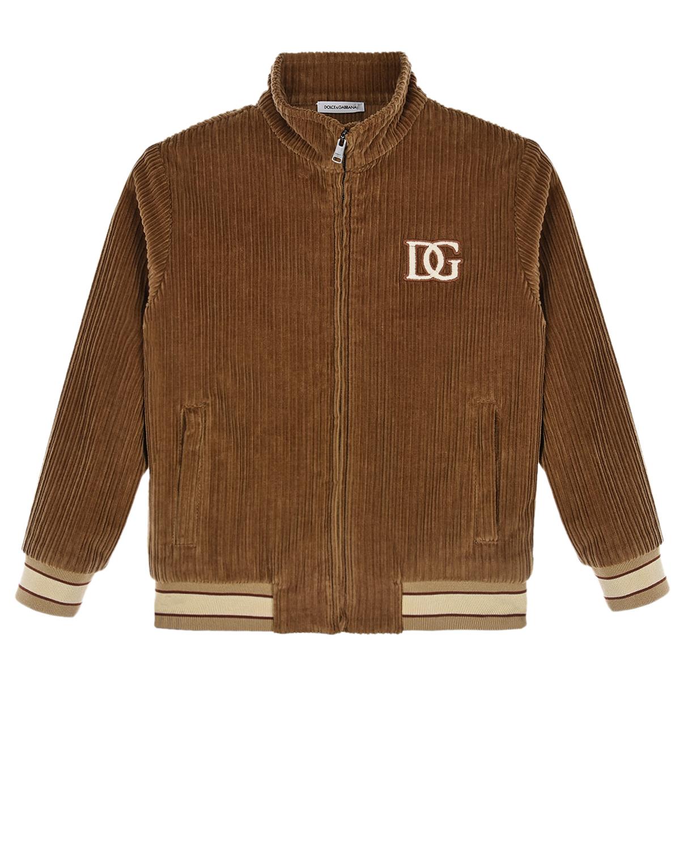 Купить Вельветовая куртка с вышитым логотипом Dolce&Gabbana детская, Бежевый, 98%хлопок+2%эластан, 96%хлопок+4%эластан, 50%акрил+50%хлопок