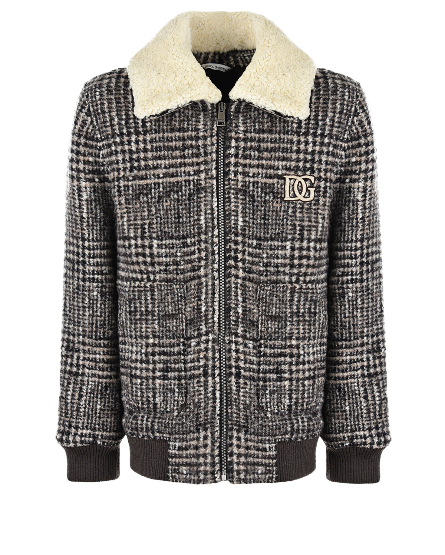 Купить Твидовая куртка-бомбер в клетку Dolce&Gabbana детская, Коричневый, 100%вискоза, 80%полиэстер+20%полиамид, 100%полиэстер, 96%шерсть+4%эластан, 76%шерсть+19%шерсть альпака+8%полиамид, 90%овчина+10%вискоза