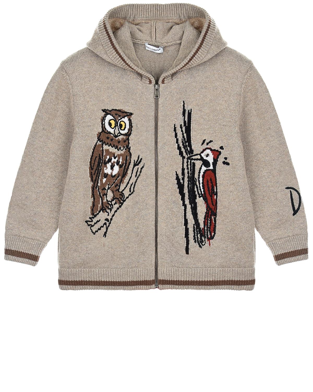 Купить Кофта с капюшоном Dolce&Gabbana детская, Бежевый, 50%шерсть+50%полиакрил, 40%шерсть+25%полиамид+25%вискоза+10%кашемир