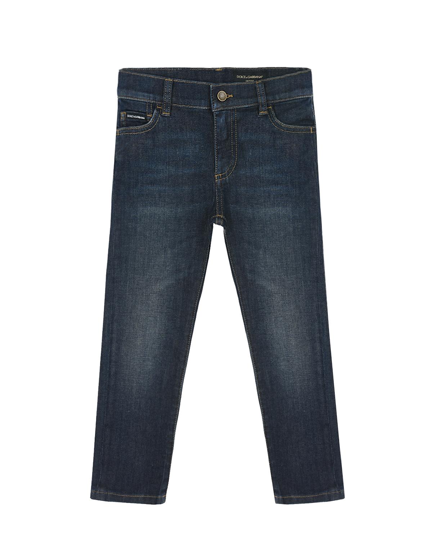 Купить Синие джинсы regular fit Dolce&Gabbana детские, Синий, 98%хлопок+2%эластан, 100%кожа