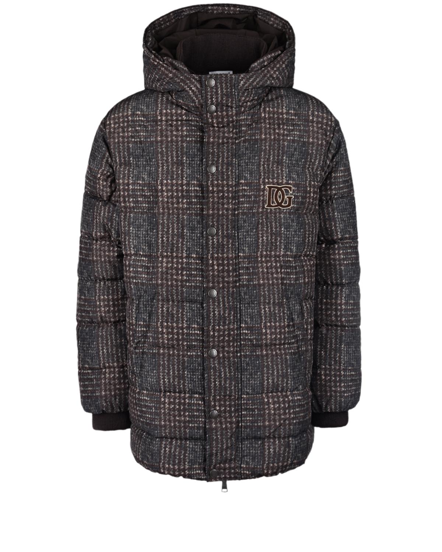 Купить Пуховая куртка с принтом в клетку Dolce&Gabbana детская, Коричневый, 100%полиэстер, 70%пух+30%перо, 96%шерсть+4%эластан