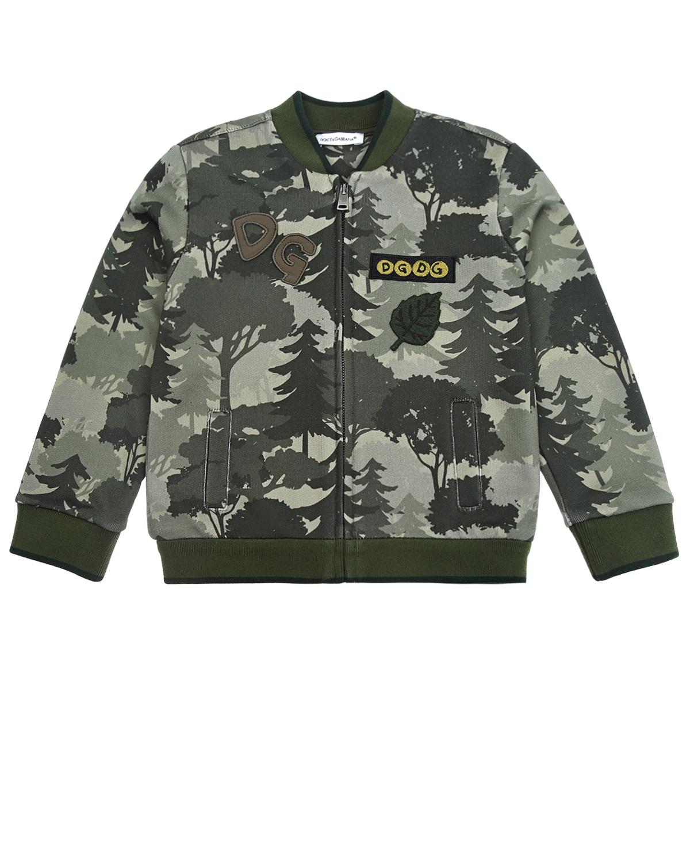 Купить Спортивная куртка из трикотажа Dolce&Gabbana детская, Хаки, 100%хлопок, 96%хлопок+4%эластан, 15%хлопок+5%полиамид+20%акрил+25%полиэстер+15%вискоза+20%шерсть