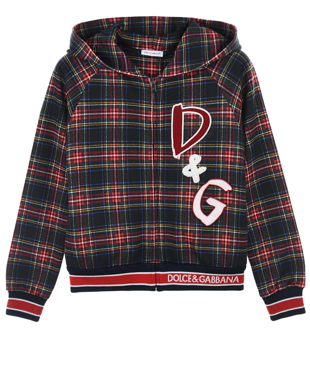 Купить Спортивная куртка из джерси с принтом в клетку Dolce&Gabbana детская, Мультиколор, 100%хлопок, 96%хлопок+4%эластан, 9%акрил+32%полиэстер+20%полиуретан+10%вискоза+9%шерсть+20%ПВХ
