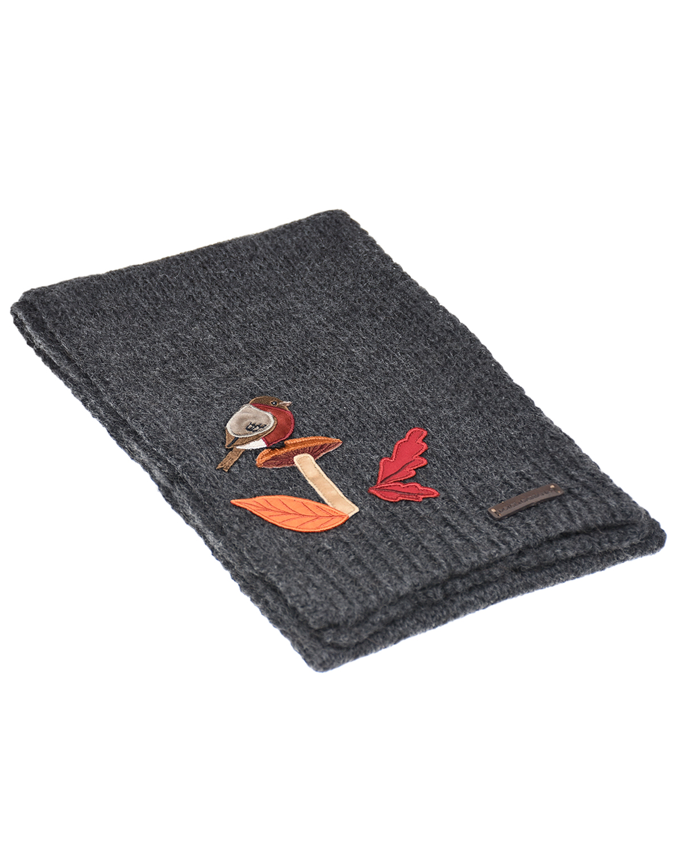 Купить Серый шарф с аппликацией Dolce&Gabbana детский, 50%шерсть+50%шерсть альпака, 100%нат.кожа, 70%полиэстер+19%вискоза+10%хлопок+1%эластан