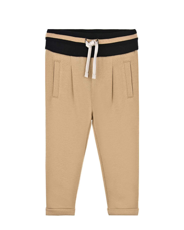 Купить Бежевые спортивные брюки с логотипом Dolce&Gabbana детские, Бежевый, 45%хлопок+30%вискоза+25%полиэстер, 50%шерсть+50%полиакрил, 96%хлопок+4%эластан