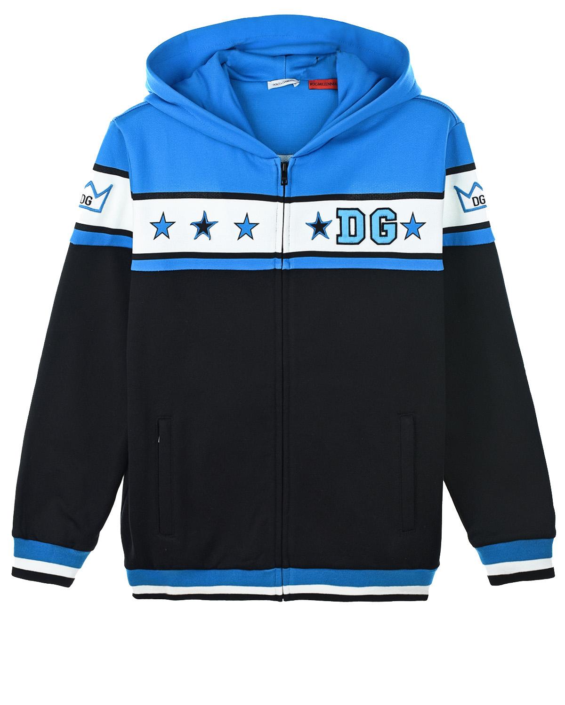 Купить Спортивная куртка с принтом D&G Dolce&Gabbana детская, Синий, 100%хлопок, 96%хлопок+4%эластан, 80%полиэстер+20%вискоза