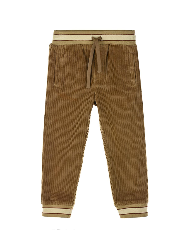 Купить Вельветовые брюки с эластичными деталям в полоску Dolce&Gabbana детские, Бежевый, 98%хлопок+2%эластан, 96%хлопок+4%эластан, 50%хлопок+50%акрил