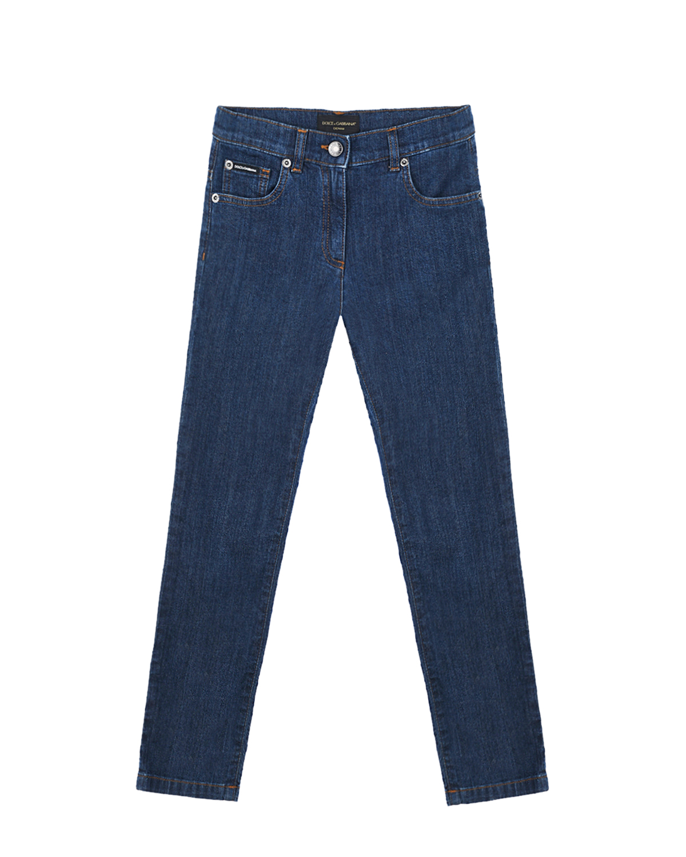 Купить Джинсы с патчем на заднем кармане Dolce&Gabbana детские, Синий, 98%хлопок+2%эластан, 60%вискоза+20%полиэстер+10%полиуретан+10%поливинилхлорид