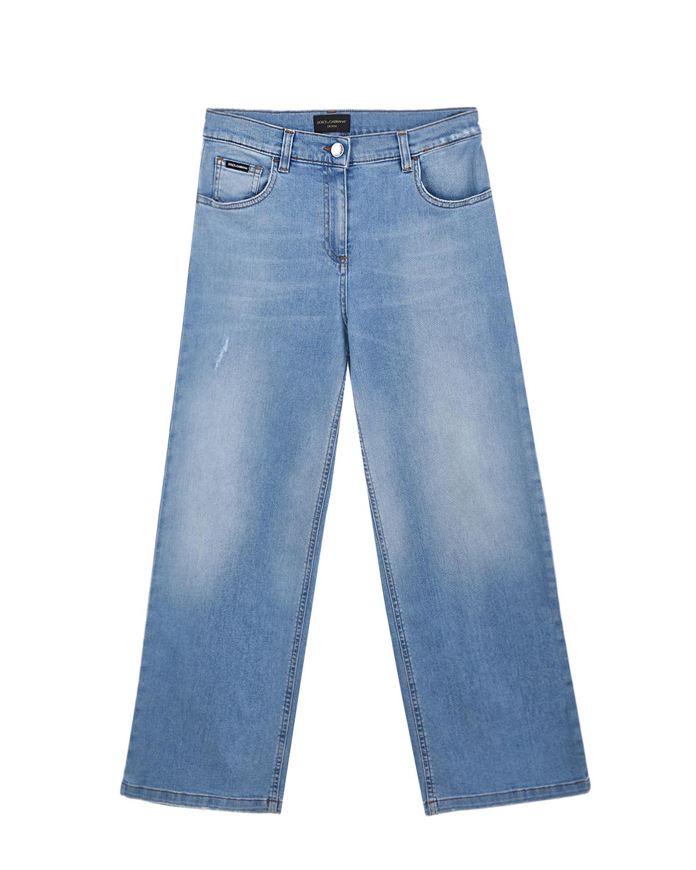 Купить Голубые джинсы клеш Dolce&Gabbana детские, Голубой, 98%хлопок+2%эластан, 100%нат.кожа