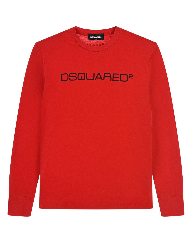 Купить Красная толстовка с черным логотипом Dsquared2 детская, Красный, 100%хлопок