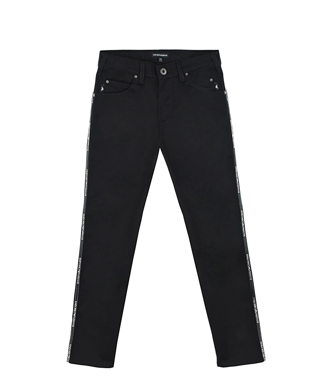 Купить Черные брюки с лампасами Emporio Armani детские, Черный, 100%хлопок, 100%полиэстер