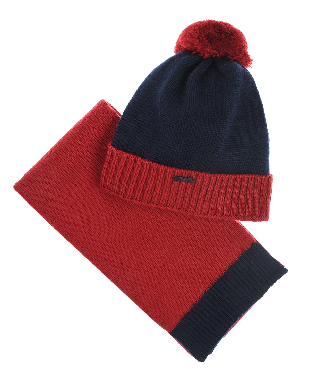 Купить Комплект из шапки и шарфа для мальчиков Emporio Armani детский, Мультиколор, 100%шерсть