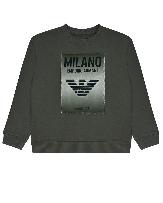 Купить Свитшот цвета хаки с эмблемой бренда Emporio Armani детский, Зеленый, 100%хлопок, 97%хлопок+3%эластан, 91%полиэстер+9%эластан