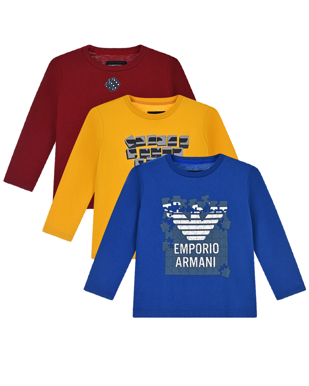 Купить Комплект из трех толстовок (бордовая, желтая, синяя) Emporio Armani детский, Мультиколор, 100%хлопок