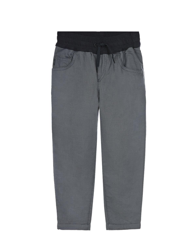 Купить Темно-серые брюки с поясом на резинке Emporio Armani детское, Серый, 100%хлопок, 98%хлопок+2%эластан, 86%хлопок+14%полиэстер