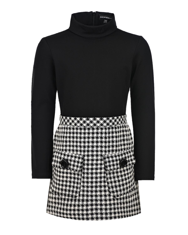Купить Платье с накладными карманами Emporio Armani детское, Мультиколор, 53%полиэстер+43%хлопок+3%всикоза+1%эластан. 67%вискоза+28%полиамид+5%эластан