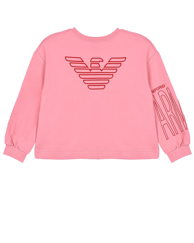 Купить Розовый свитшот с объемными рукавами Emporio Armani детский, 72%хлопок+28%полиэстер, 98%хлопок+2%эластан