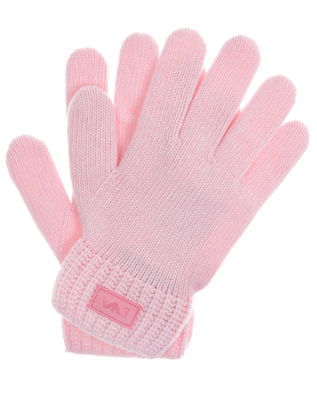 Купить Розовые перчатки из шерсти и кашемира Emporio Armani детские, Розовый, 35%полиамид+30%шерсть+30%вискоза+5%кашемир