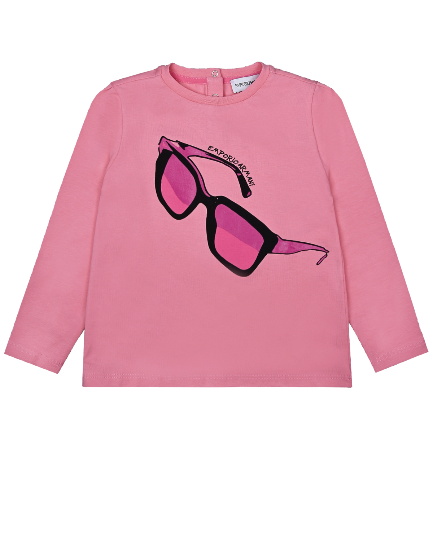 Купить Розовая толстовка с принтом Очки Emporio Armani детская, Розовый, 95%хлопок+5%эластан