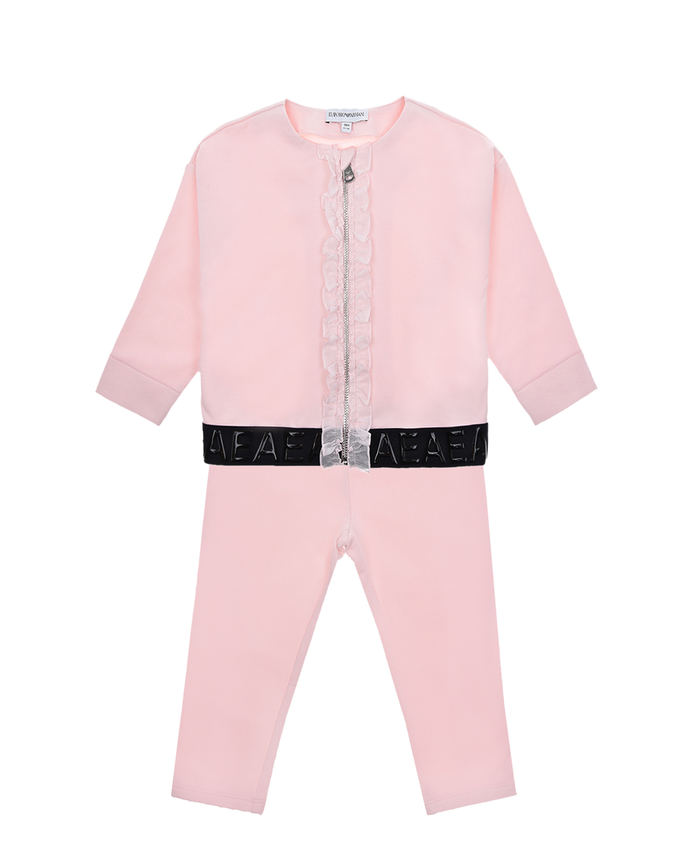 Купить Розовый спортивный костюм Emporio Armani детский, 94%хлопок+6%эластан, 100%хлопок, 47%полиамид+40%полиэстер+13%эластан