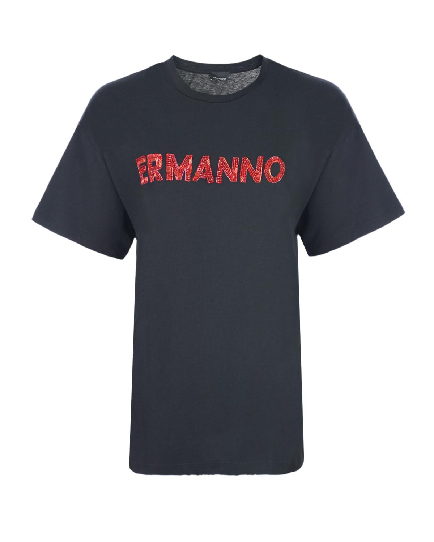 Купить Черная футболка с красным вышитым логотипом Ermanno Ermanno Scervino, Черный, 100%хлопок, 100%стекло