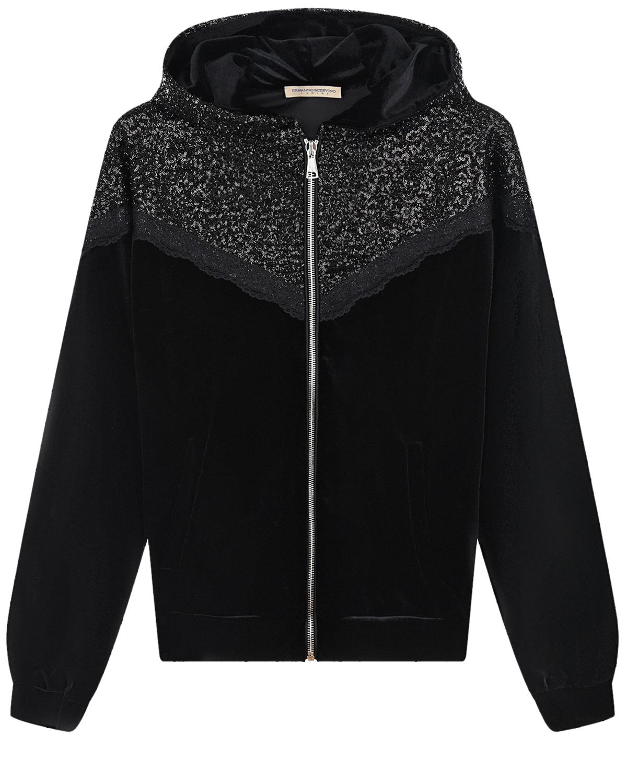 Купить Спортивная куртка из велюра с отделкой из пайеток Ermanno Scervino детская, Черный, 95%полиэстер+5%эластан, 100%полиэстер, 94%хлопок+6%эластан, 100%полиамид