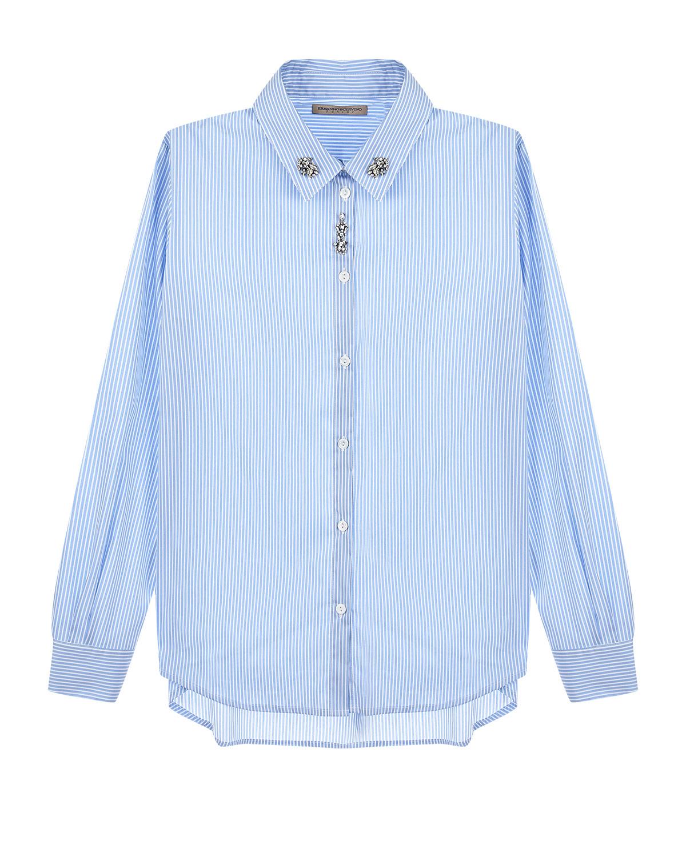 Купить Рубашка в полоску со стразами на воротнике Ermanno Scervino детская, Голубой, 72%хлопок+25%полиамид+3%эластан, 100%стекло