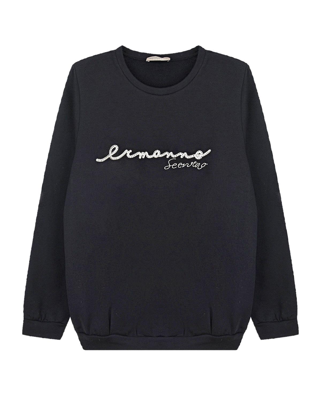 Купить Черный свитшот свободного кроя Ermanno Scervino детский, 94%хлопок+6%эластан, 100%стекло