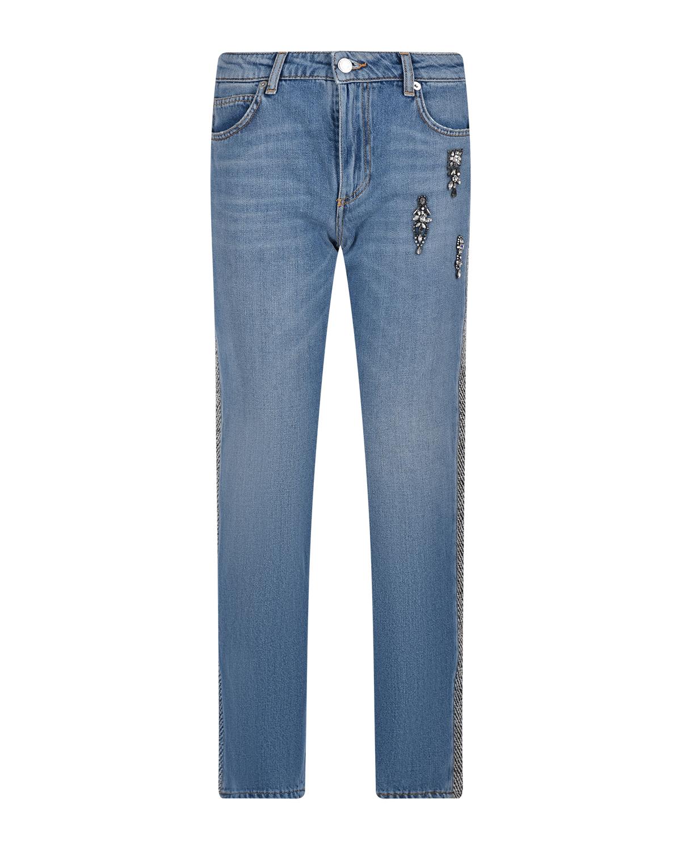 Купить Голубые джинсы с твидовым лампасом Ermanno Ermanno Scervino, Голубой, 100%хлопок, 65%полиэстер+35%хлопок, 29%вискоза+27%хлопок+24%акрил+11%полиэстер+5%шерсть+4%другие волокна