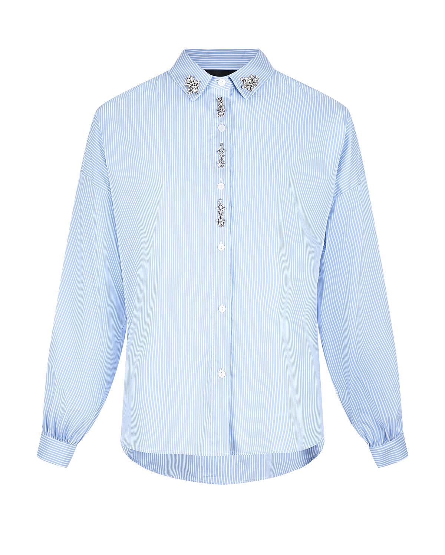 Купить Голубая рубашка в тонкую полоску Ermanno Ermanno Scervino, Голубой, 72%хлопок+25%полиамид+3%эластан, 100%стекло