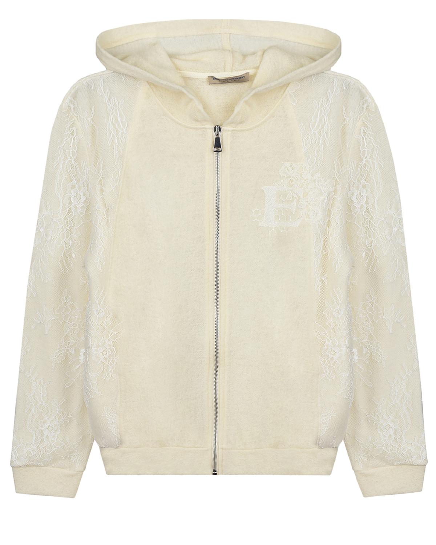 Купить Белая спортивная куртка со вставками из гипюра Ermanno Scervino детская, Белый, 100%шерсть, 100%полиамид