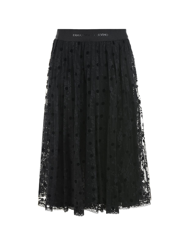 Купить Черная юбка из гипюра Ermanno Scervino детская, Черный, 100%полиамид, 100%вискоза, 80%полиамид+20%эластан