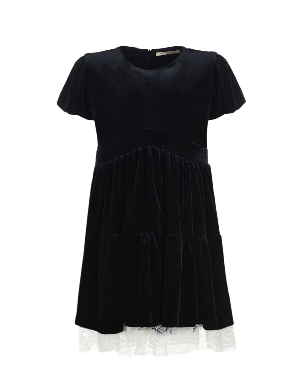 Купить Черное бархатное платье Ermanno Scervino детское, Черный, 95%полиэстер+5%эластан, 100%вискоза, 80%хлопок+20%полиамид