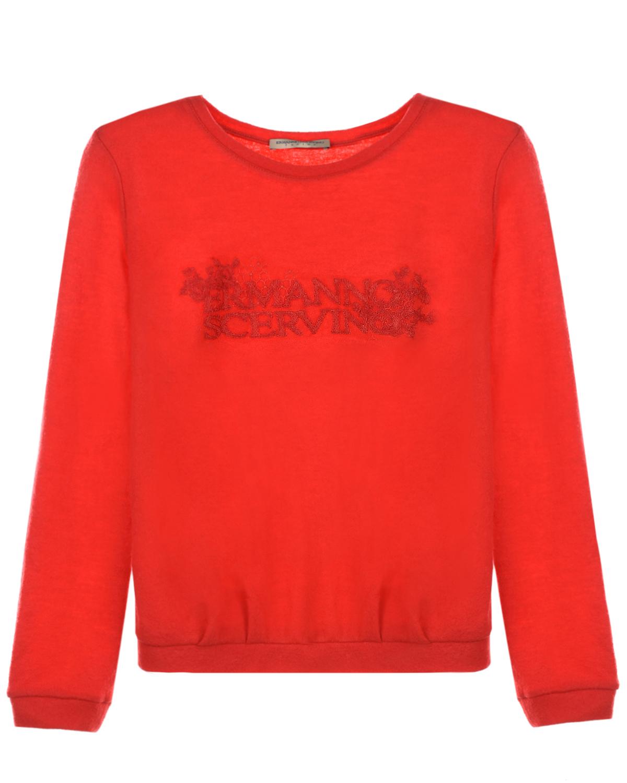 Купить Красный джемпер с логотипом в тон Ermanno Scervino детский, 100%шерсть, 74%полиэстер+14%полиамид+6%мохер+6%шерсть альпака
