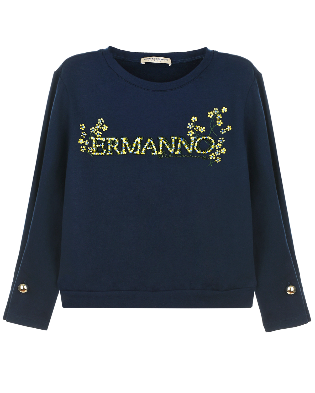Купить Синий свитшот с логотипом из страз Ermanno Scervino детский, 94%хлопок+6%эластан, 100%полиамид, 100%стекло