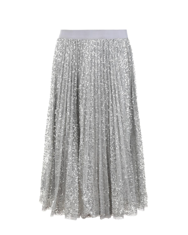 Купить Плиссированная юбка с пайетками Ermanno Scervino детская, Нет цвета, 100%полиэстер, 100%вискоза, 80%полиамид+20%эластан, 100%полиамид