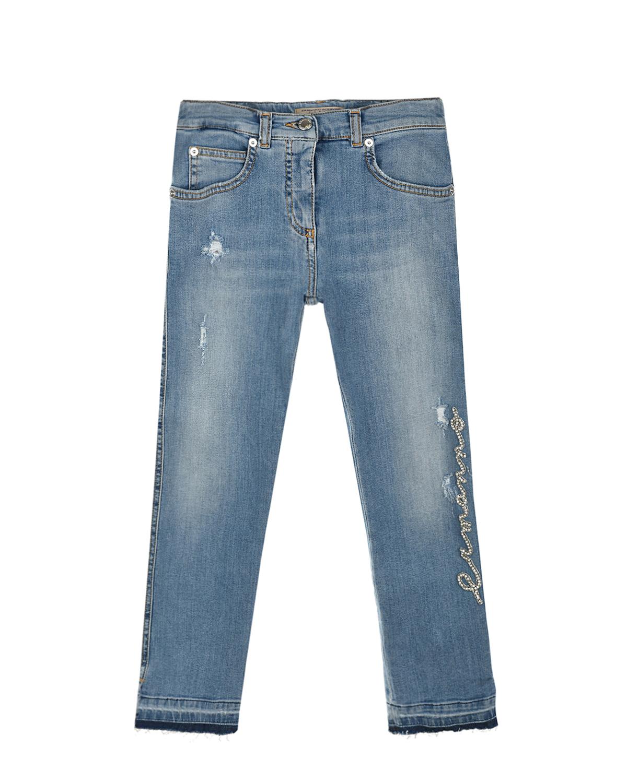 Купить Голубые джинсы со стразами Ermanno Scervino детские, Голубой, 98%хлопок+2%эластан, 65%полиэстер+35%хлопок, 100%полиамид, 95%стекло+5%металл