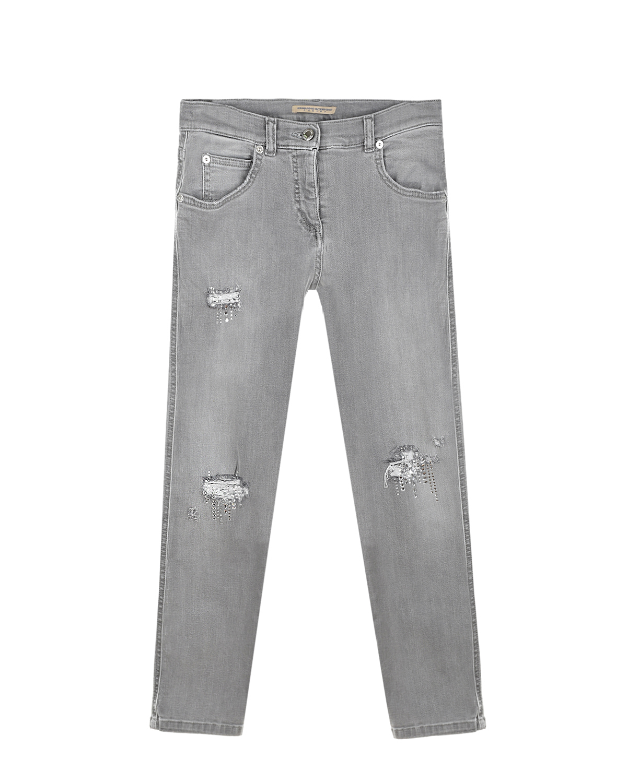 Серые джинсы с потертостями Ermanno Scervino детские, Серый, 98%хлопок+2%эластан, 65%полиэстер+35%хлопок  - купить со скидкой