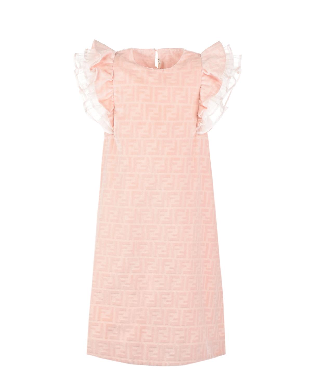 Купить Розовое платье с рукавами крылышками Fendi детское, Розовый, 100% хлопок, 100%шелк