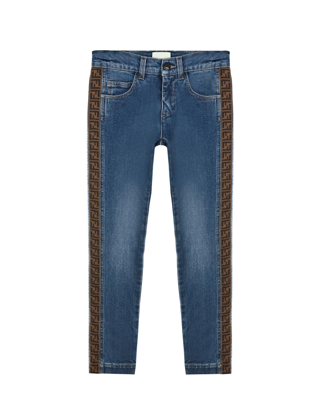 Купить Голубые джинсы с коричневыми лампасами Fendi детские, Голубой, 98% хлопок+2% полиамид
