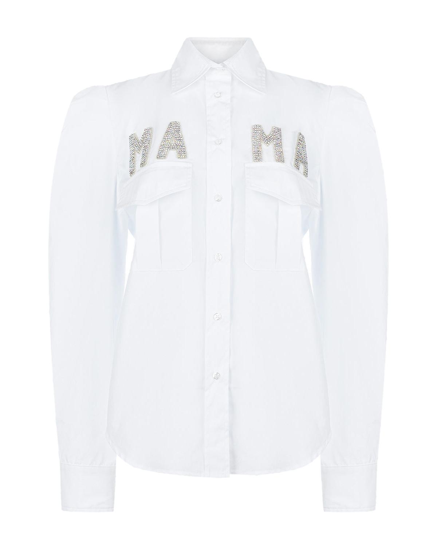 Белая рубашка с декором из страз Forte dei Marmi Couture.