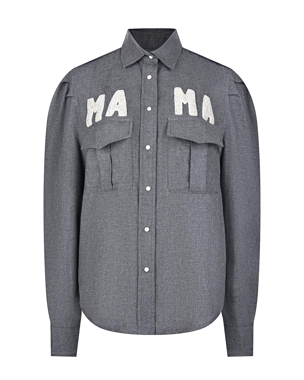 Серая рубашка с декором из страз Forte dei Marmi Couture.