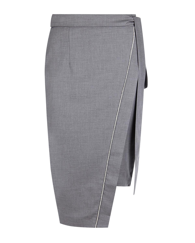 Серая юбка с асимметричным запахом Forte dei Marmi Couture.