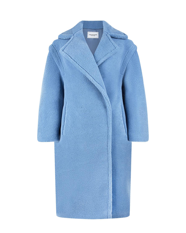 Голубое пальто с надписью Queen mama Forte dei Marmi Couture.