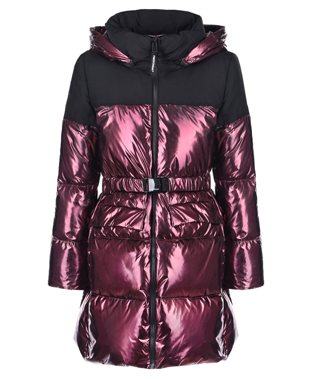 Купить Стеганое пальто с металлизированным эффектом Freedomday детское, Бордовый, 100%полиэстер, 90%пух+10%перо